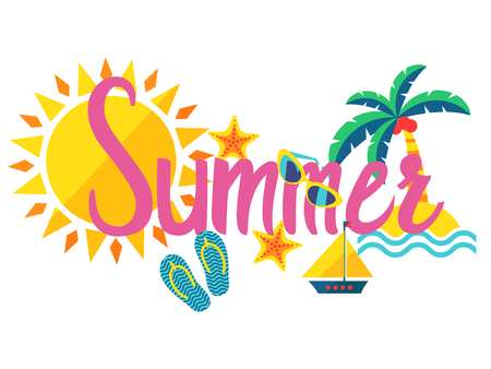 Summer. A pink lettering with sun, islands, palm tree, sunglasses and other attributes of summer. Flat lettering isolated on white background