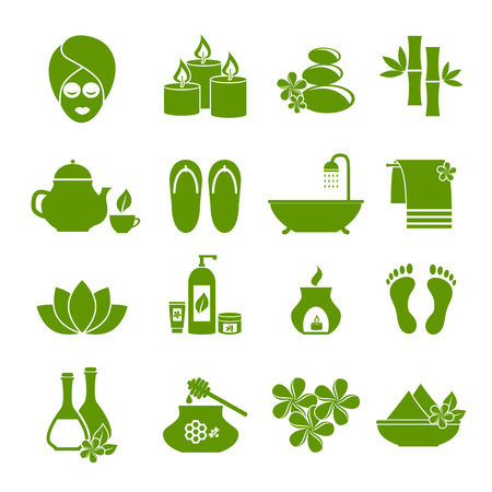 skin oil: icons of Spa. Symbol of rest, relaxation, care about health, a healthy lifestyle for women and men. Set of green vector icons on  white background