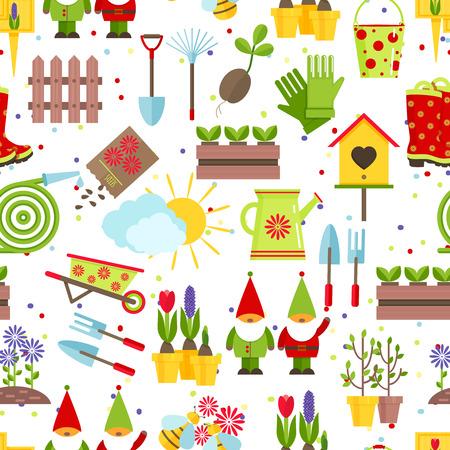 gnomos: Modelo inconsútil de las herramientas de jardín y elementos decorativos para el jardín. Un rastrillo de color, palas, semillas, plantones, baldes, regaderas, enanos de jardín y otras herramientas de jardinería en el fondo blanco. Foto de archivo