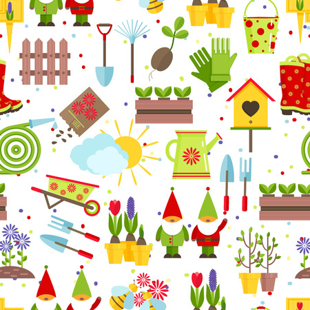 cartoon wood bucket: Seamless pattern from garden tools and decorative elements for a garden. A color rake, shovels, seeds, saplings, buckets, watering cans,garden gnomes and other gardening tools on  white background. Stock Photo