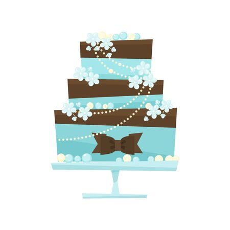 decorated cake: Wedding cake with chocolate and flowers. Blue cake decorated with chocolate cream, chocolate bow, flowers, pearls ,mint mastic.Wedding illustration in flat cartoon style isolated on white background.