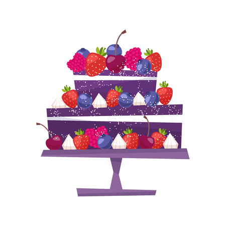 Sweet berries cake for birthday holiday.