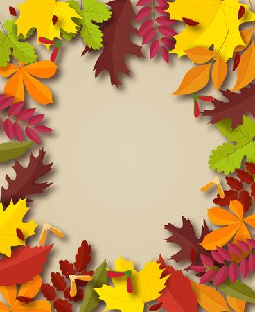 Herbst Hintergrund. Feld für Text mit Herbstblättern verziert. Vektor-Illustration