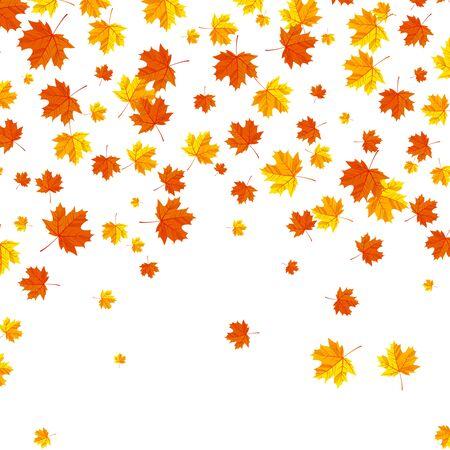 Falling autumn leaves background.Orange and yellow confetti maple leaves . Vector illustration Illustration