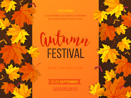 Autumn festival background. Invitation banner with fall leaves and lettering. Vector illustration.