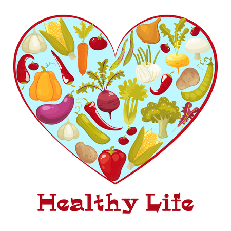 pumpkin tomato: Healthy life heart isolated on white background. Healthy vegitables diet advertisement poster with heart shaped assortment of pumpkin ,tomato,potato,eggplant,broccoli,carrot. Cartoon style vector illustration.