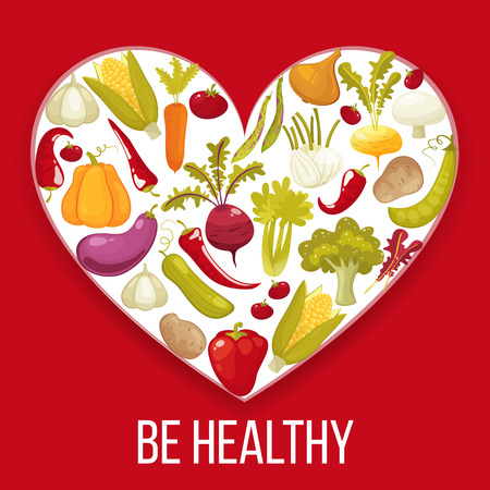 pumpkin tomato: Be Healthy. Healthy life heart isolated on red background. Healthy vegitables diet advertisement poster with heart shaped assortment of pumpkin ,tomato,potato,eggplant,broccoli,carrot. Cartoon style vector illustration.