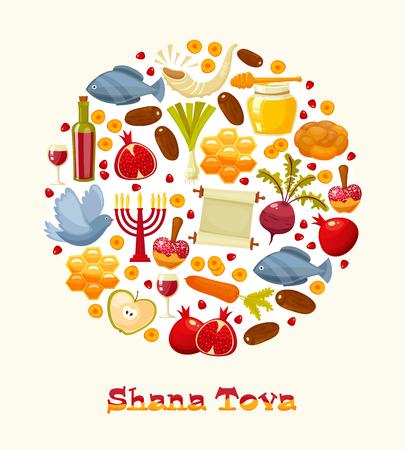 rosh: Rosh Hashanah, Shana Tova or Jewish New year cartoon flat vector icons round background.Traditional symbols of Jewish new year holiday Rosh Hashanah