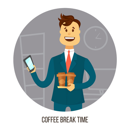 agrees: Coffee break. Young businessman or office worker with two cups of coffee agrees on smartphone with friends or colleagues about coffee break .Business concept . Cartoon flat style illustration Illustration