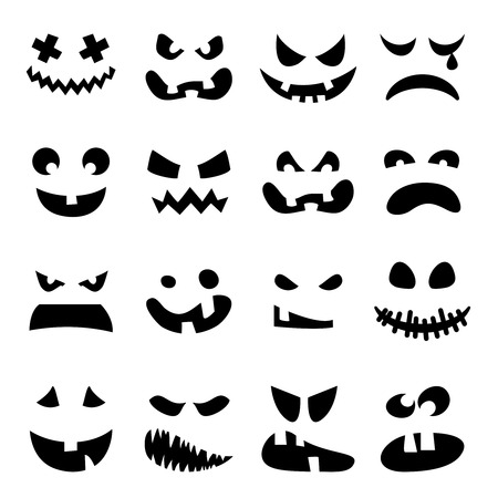 awful: Scary Halloween pumpkin faces set. Horror, terrible, awful, black emotions on white background . Vector illustration