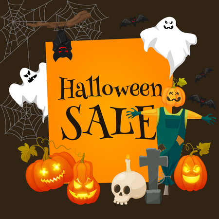 Halloween sale offer design template.Sale background with effigy, ghosts, skull, pumpkins and other traditional symbols of Halloween. Retro cartoon style vector illustration Illustration