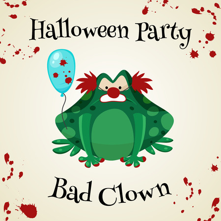 masked ball: Halloween green toads fashion costume outfits. Bad clown halloween party background. Cartoon style vector illustration isolated on white background Illustration