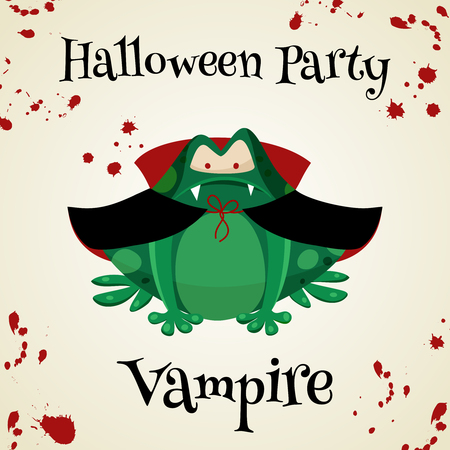 masked ball: Halloween green toads fashion costume outfits. Vampire halloween party background. Cartoon style vector illustration isolated on white background