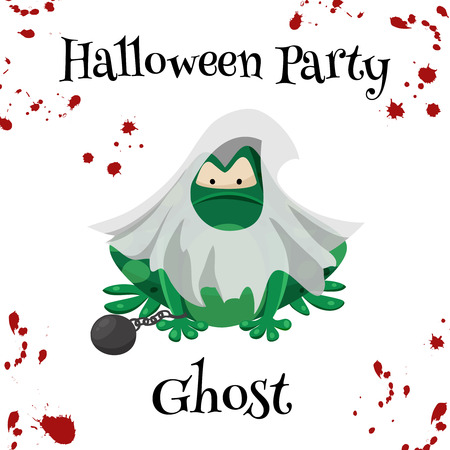 masked ball: Halloween green toads fashion costume outfits. Ghost halloween party background. Cartoon style vector illustration isolated on white background