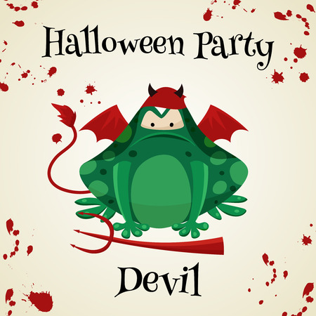 masked ball: Halloween green toads fashion costume outfits. Davil halloween party background. Cartoon style vector illustration isolated on white background Illustration