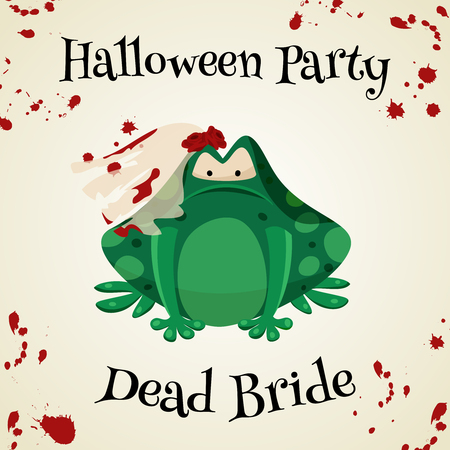 masked ball: Halloween green toads fashion costume outfits. Dead bride halloween party background. Cartoon style vector illustration isolated on white background Illustration