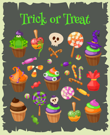 cupcakes isolated: Trick or Treat. Traditional sweets and candies for holiday Halloween. Muffins, cupcakes, cakes decorated in Halloween style and isolated on white background. Retro cartoon style vector illustration. Illustration