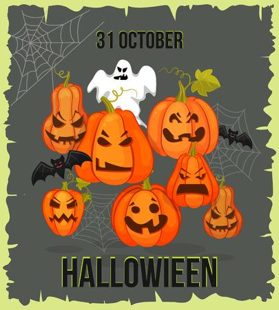 torn edges: October 31. Halloween banner. Holiday torn edges, shabby background with pumpkins, web, bats. Retro cartoon style vector illusctration Illustration