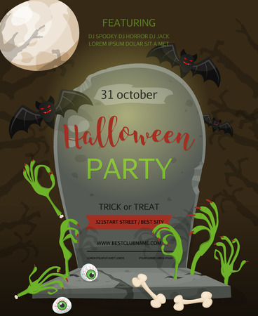 baner: Halloween party baner. A gravestone with an inscription and the zombie hands a festive poster. Rertro cartoon style vector illustration