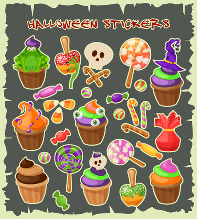 cupcakes isolated: Haloween stickers. Traditional sweets and candies for holiday Halloween. Muffins, cupcakes, cakes decorated in Halloween style and isolated on white background. Retro cartoon style vector illustration.