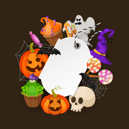 fall fashion: Halloween Gift Tag with web,bats, candy,hat, pumpkins and ghost on white background. Price tag for holiday sale. Retrp cartoon style vector illustration Illustration