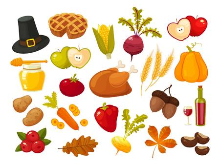 Traditional icons Thanksgiving Day set. Symbols of thanksgiging and family traditions elements for holiday design isolated on white background. Retro cartoon style vector illustration