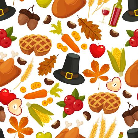 TraditionalThanksgivin day seamless background. Symbols of thanksgiging and family traditions elements for holiday design isolated on white background. Retro cartoon style vector illustration Illustration