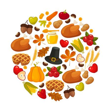 Happy Thanksgiving. Thanksgiving Day vector banner with traditional table plenty of food, roasted turkey, cornucopia with pumpkins, fruits and vegetables. Decoration for thanksgiving greeting cards Illustration