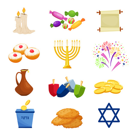 Happy Hanukkah. traditional symbols .Hanikkah objekts set Vector illustration Ilustração