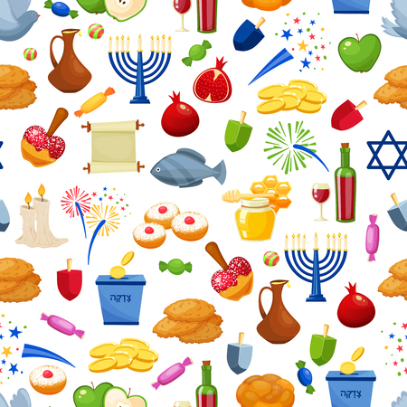 estrella de david: Feliz Jánuca. Judía fondo de vacaciones de felicitación. Diseño sin costuras a partir de objetos tradicionales de la fiesta religiosa judía. ilustración vectou estilo de dibujos animados