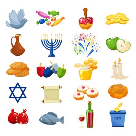 estrella de david: Varios símbolos y elementos de la celebración de jánuca conjunto de iconos. Símbolos de la cultura judía aislados en backround blanco. Estilo de dibujos animados ilustración vectorial