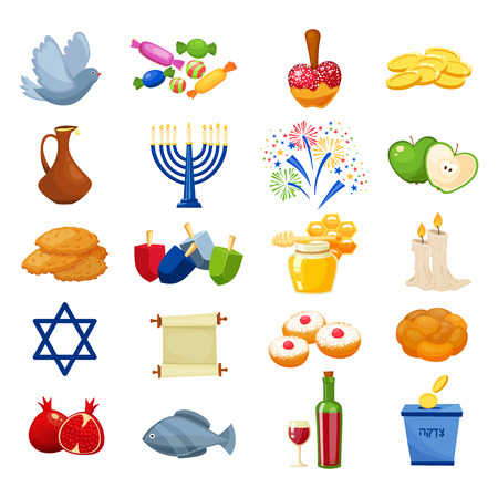 Various symbols and items of hanukkah celebration icons set. Jewish culture symbols isolated on white backround. Cartoon style vector illustration