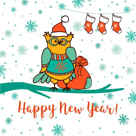 drow: Merry Christmas and Happy New Year. Greeting card with cute owl in Santa ha, gift socks and Santas gift bag. Hand drow style vector illustration.
