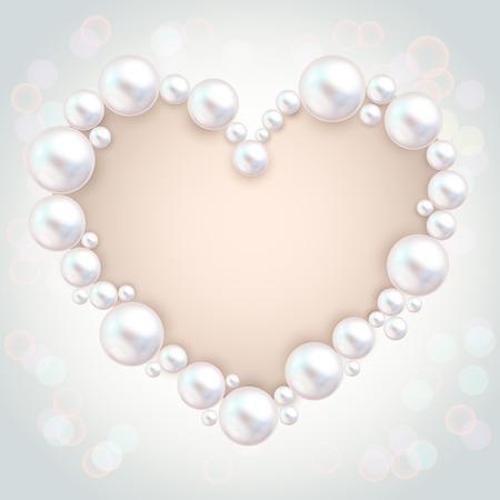 Pearl beads wedding invitation frame on grey background. Jewellery bracelet, necklace . Wedding invitation white pearls vector background.