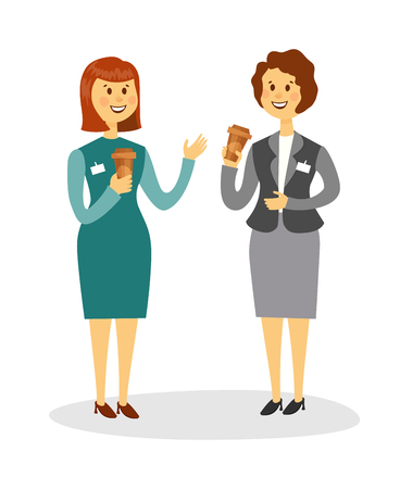 two women talking: Two colleagues drinking coffee and talking in the office. Two smiling women are drinking coffee in the workplace. Cartoon style vector illustration.