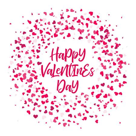 Roze Valentines harten patroon krans op transparante achtergrond.