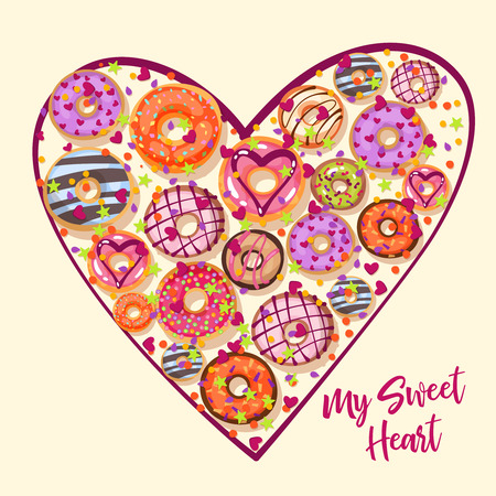 sprinkle: Design from donuts in the heart form. Culinary pastries background for St. Valentine s Day with lettering. Cartoon style vector illustration
