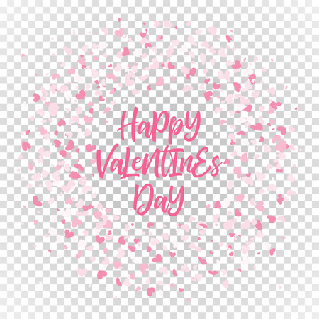 Pink Valentines hearts pattern wreath on transparent background.
