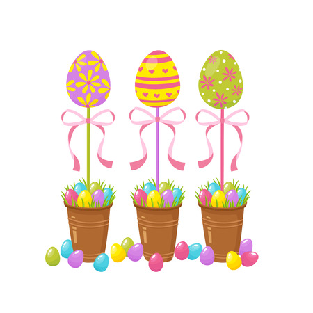 Eggs tree. Easter traditional element. Religious holidays symbols isolated on white background.