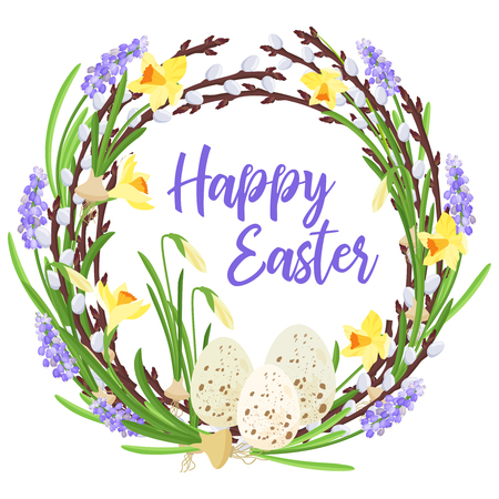Happy Easter lettering . Spring wreath from branches of willow and flowers decorated with quail eggs and bulbs of narcissuses and mouse hyacinths . with a festive inscription. Traditional symbols of Catholic and Christian spring holiday. Vector illustrati