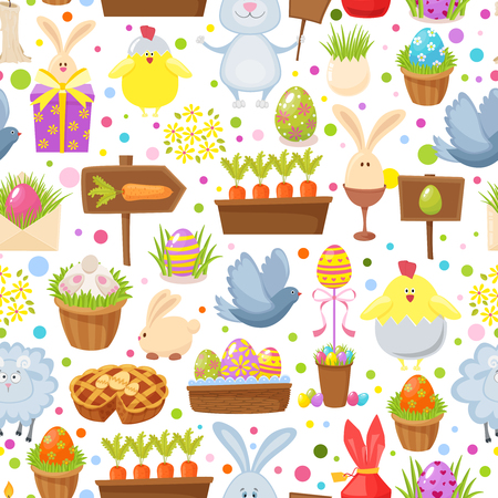Easter seamless background.Religious holiday pattern from rabbit, pigeon, colored eggs, chickens and other traditional symbols of Easter