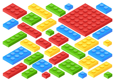 Artistic design of a isometric plastic building blocks and tiles. Toy kids bricks vector set. Toy block construction, illustration of cube toy for play. Flat cartoon style vector illustration