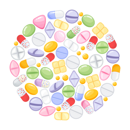 Different colorful medical pills capsules and tablets in round design. Medications collection. vector illustration in flat style. Illustration