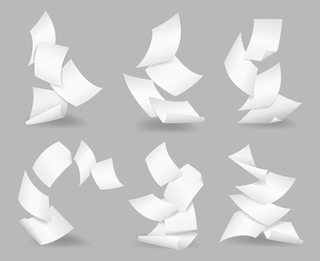 Document blank business, white page, design bureaucracy, object fly, vector illustration. Flying paper sheets. Çizim