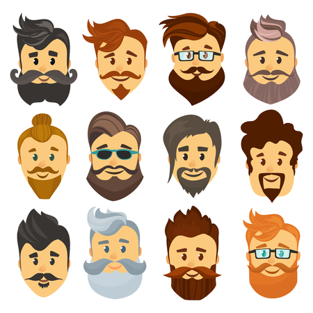 barbershop: Hipster barbershop cartoon european people with beards moustaches and various stylish haircuts on white background isolated vector illustration. Illustration