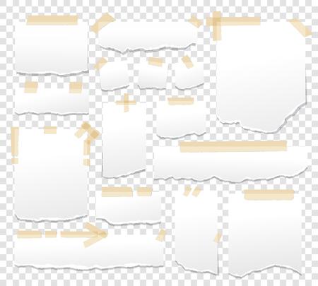 Feuilles de papier blanc avec de ruban adhésif. de papier collant avec illustration rayures scotches adhésif vecteur. Page Fiche de message de rappel Banque d'images - 77609722