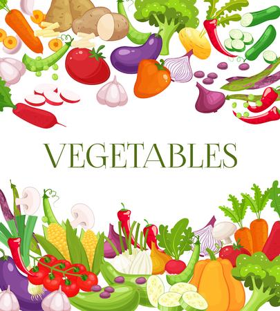 野菜や健康食品メニュー ポスター。新鮮なニンジン、トマト、玉ねぎ、ブロッコリー、キャベツ、にんにく、きゅうり、唐辛子、大根。ベジタリア  イラスト・ベクター素材