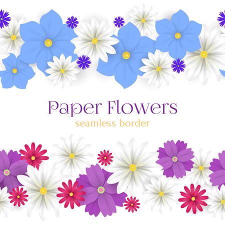 Colorful vector paper flowers horizontal seamless borders colorful vector paper flowers horizontal seamless borders illustration 3d origami abstract flower decor per mightylinksfo