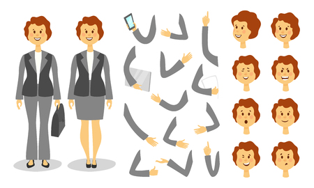 Businesswoman character creation set. Icons with different types of faces , emotions,moving arms, front, rear, side view of male person. Cartoon flat style ector illustration