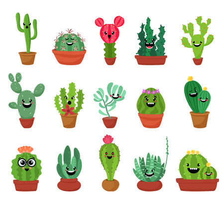 Big set of cute cartoon cactus and succulents with funny faces. Cute stickers or patches or pins collection.